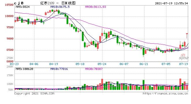 午评红枣全合约涨停LPG涨近4%沪银原油跌近3%